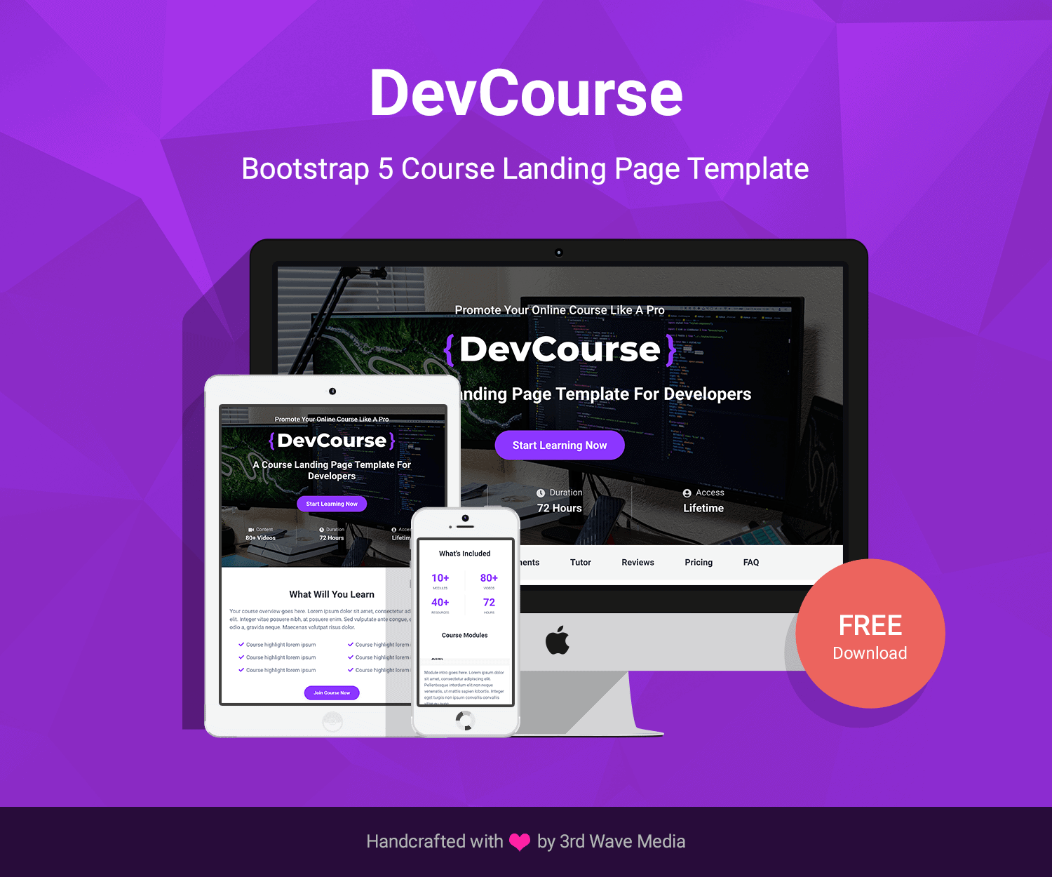 DevCourse - Free Bootstrap Course Landing Page Template