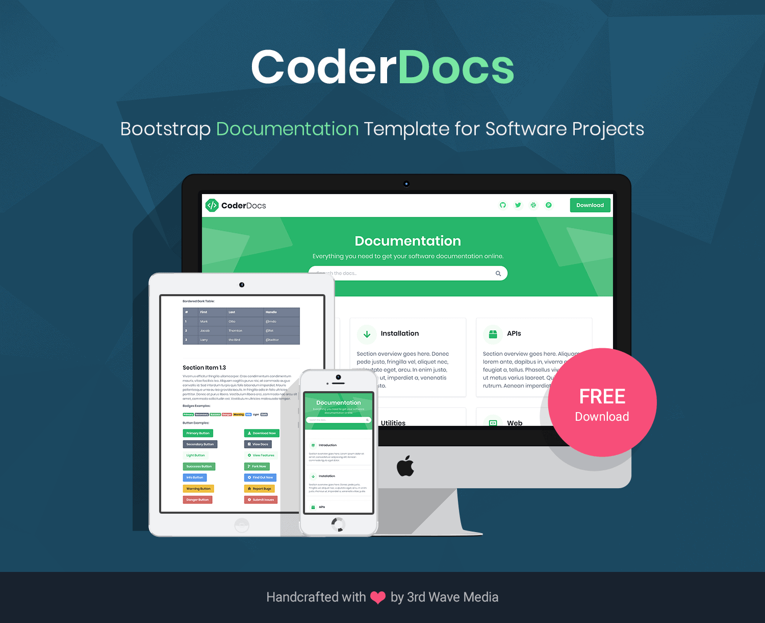 CoderDocs Bootstrap Documentation Template For Software Projects