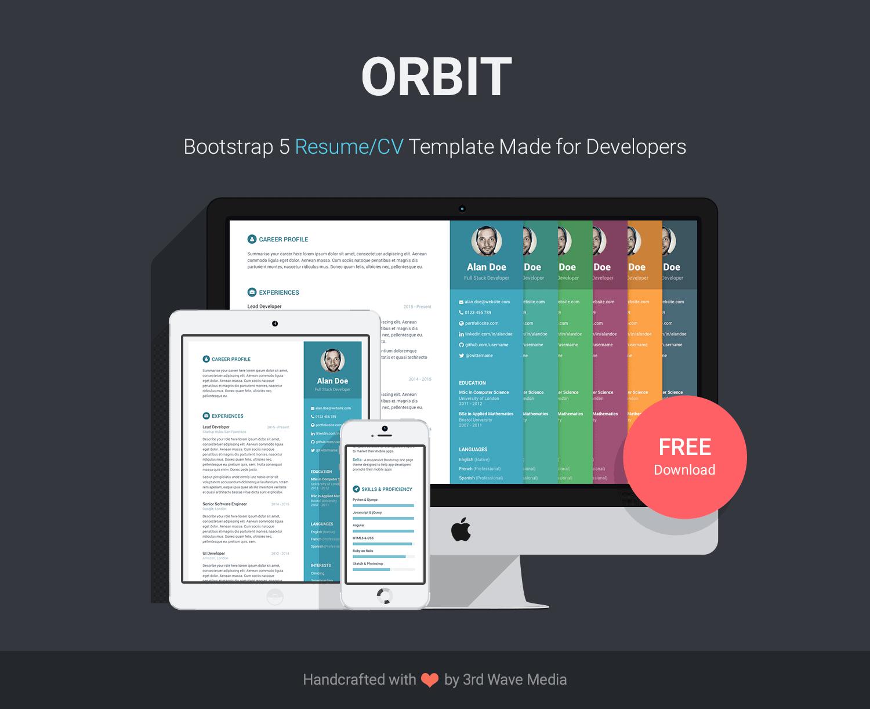 Orbit-Bootstrap-Resume-CV-Template-for-Developers